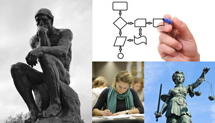 Collage of images of thinker, process, study, law.