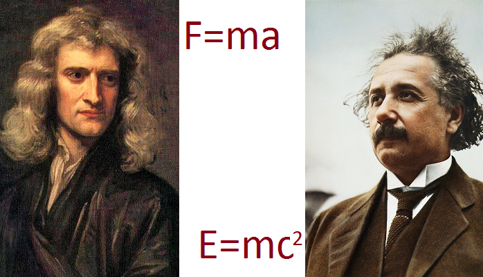 Images of Newton and Einstein and their equations